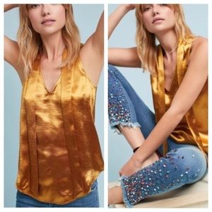 Anthropologie Maeve Metallic Gold Top 14